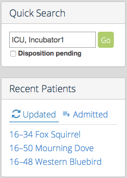 Update Quick Search and Recent Patients